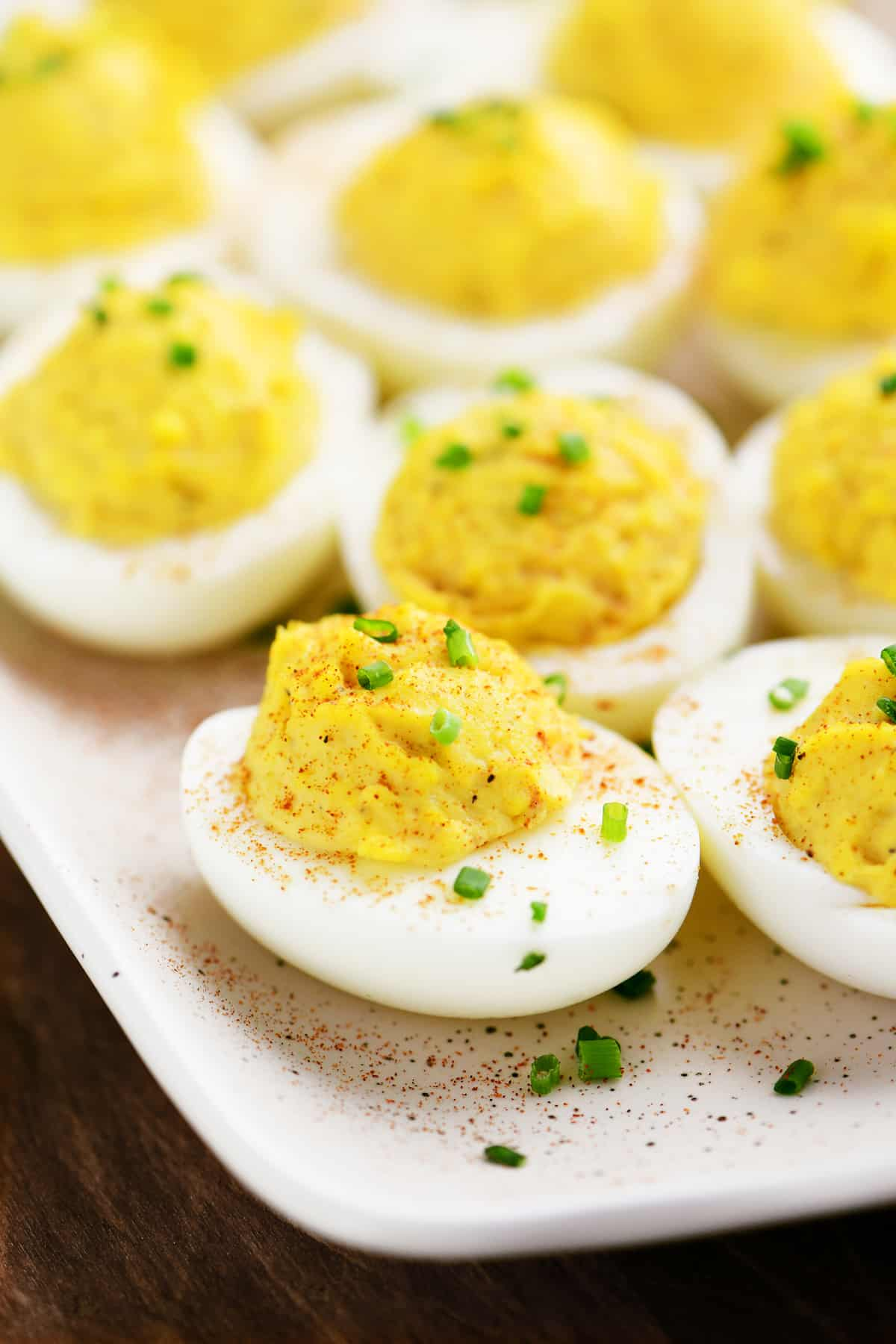 deviled eggs on a platter