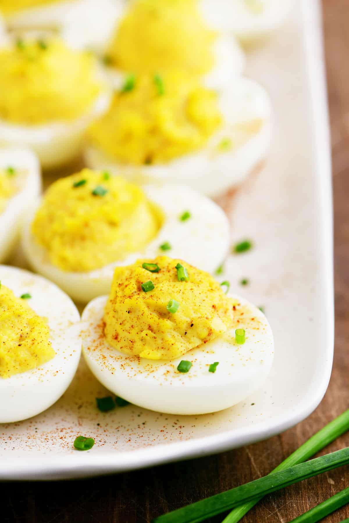 several deviled eggs on a platter