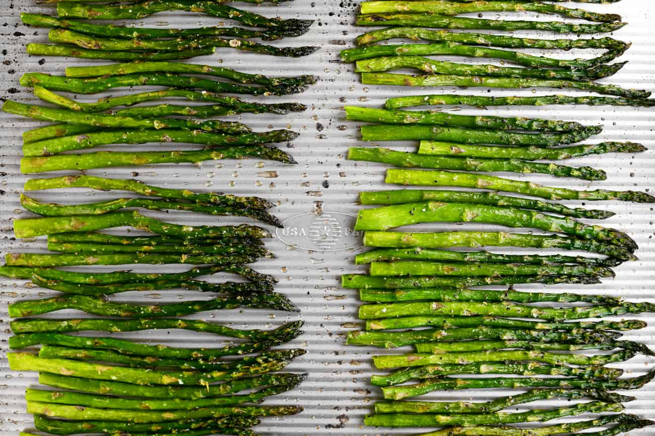 green asparagus on a metal pan