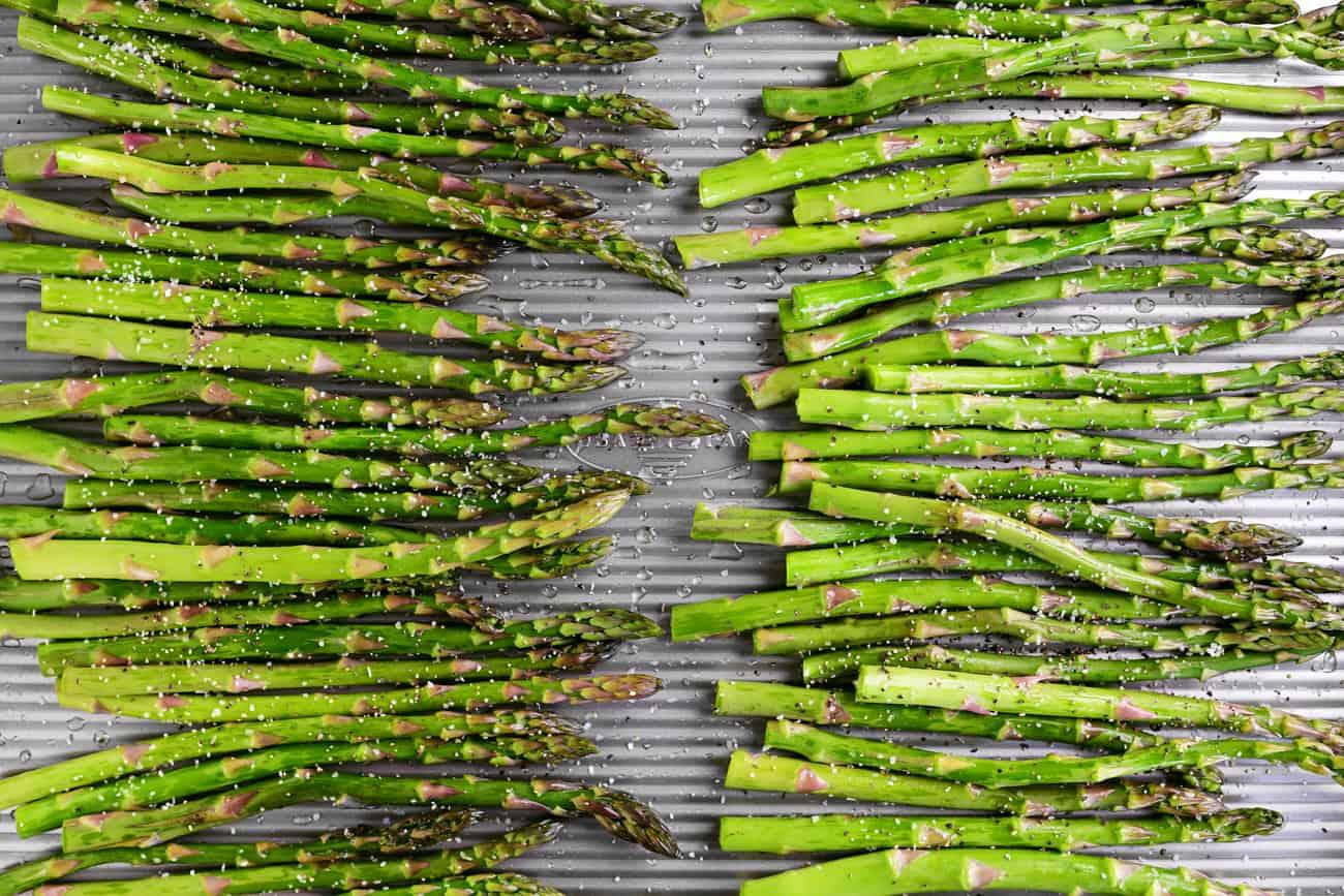 salt and pepper on asparagus