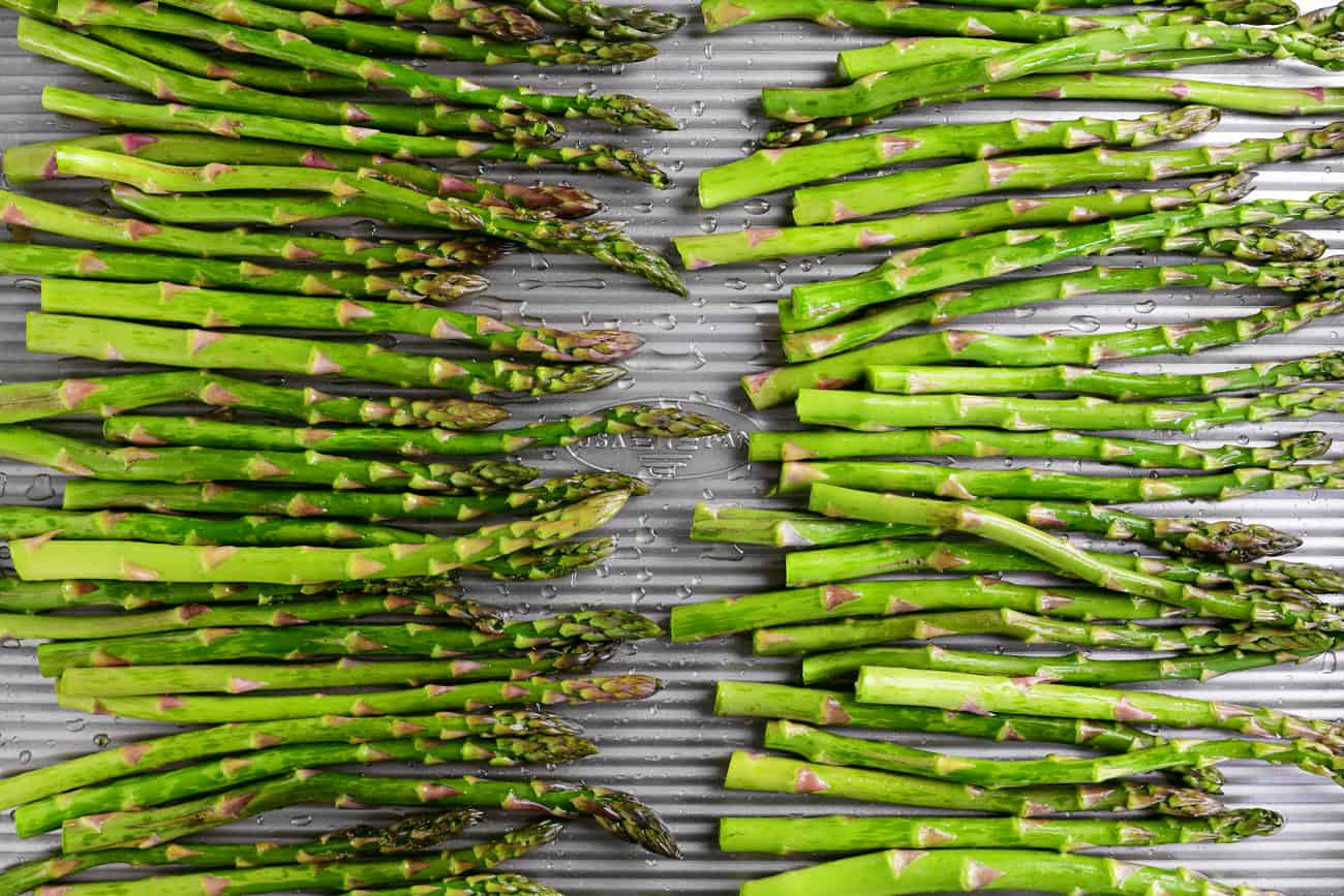 green vegetables on a metal pan