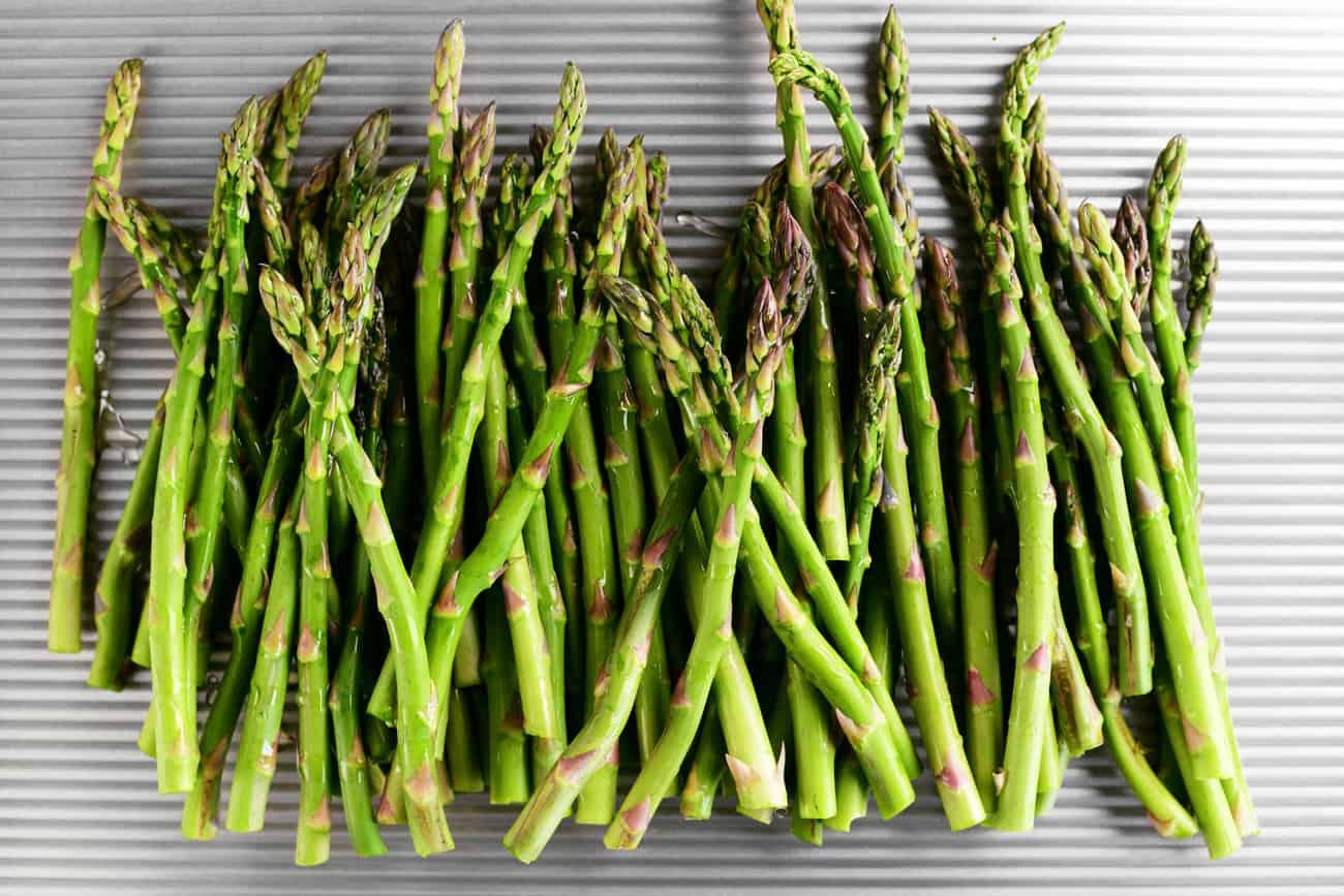 fresh asparagus on a pan