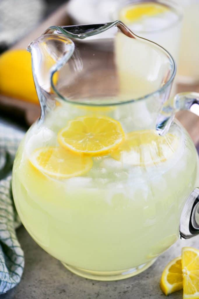 lemonade in a glass pitcher