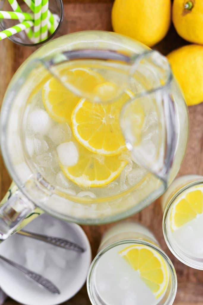 topdown view of a pitcher of lemonade on a tray