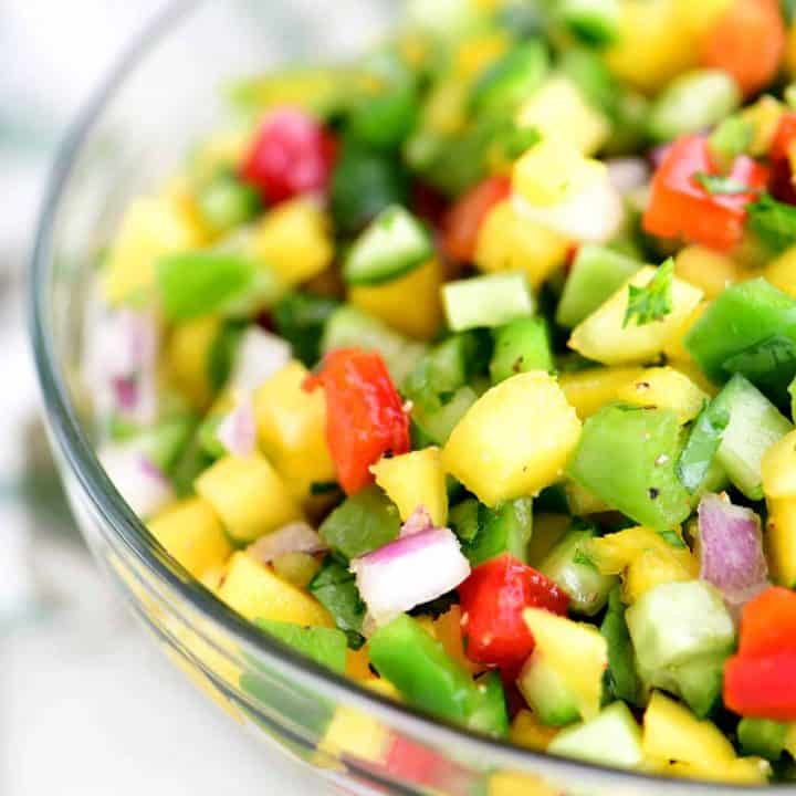 diced fruit and veggies mixed together in a small bowl