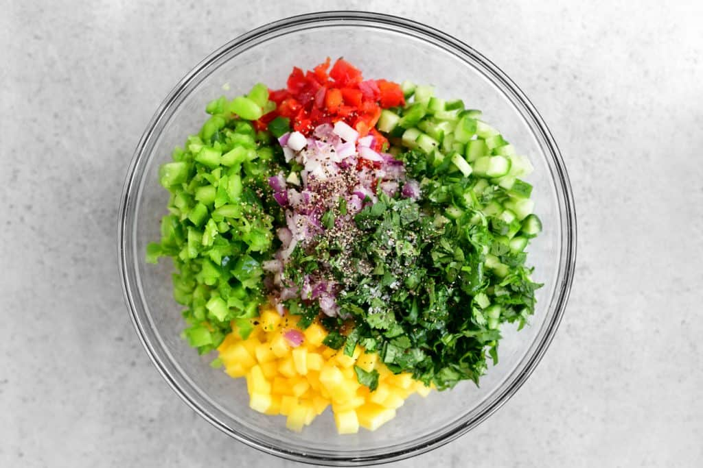 diced veggies and fruit in a bowl