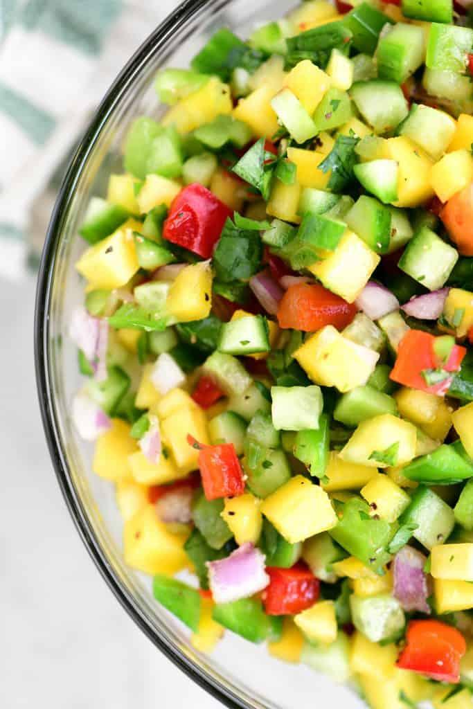 close up of mango salsa