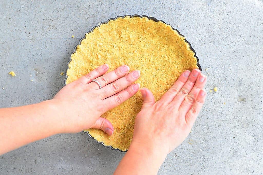 press shortbread crust into pan