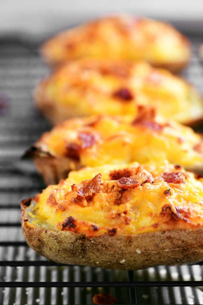 bacon and cheddar melted on twice baked potatoes