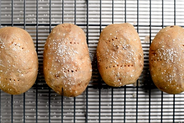 baked potatoes on a wire rack