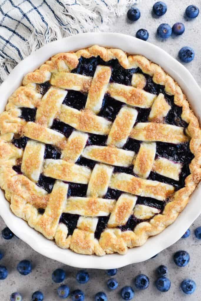 blueberry pie with a lattice top crust