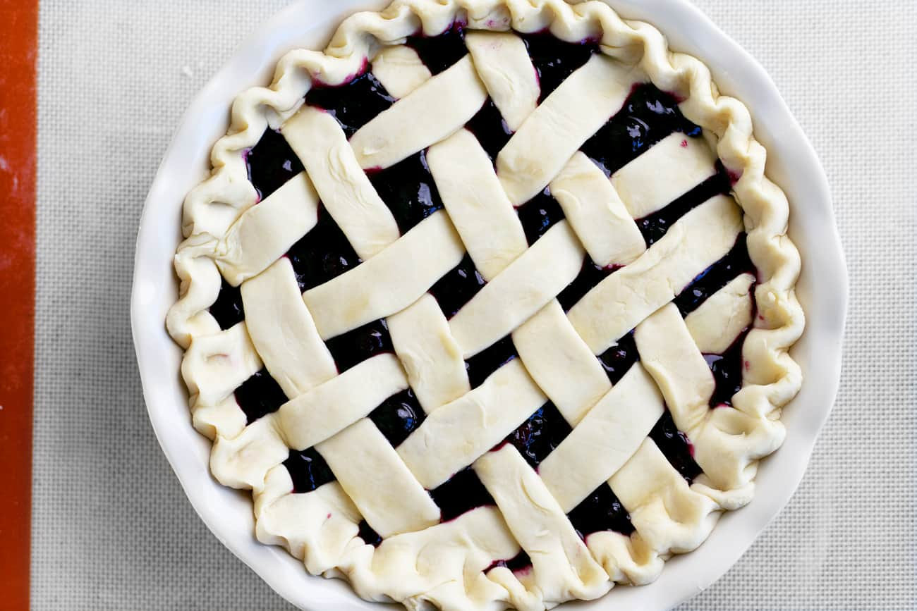 an uncooked blueberry pie