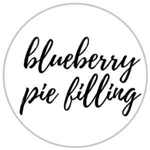 a label that reads blueberry pie filling