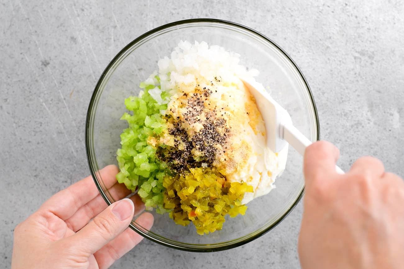 stir dressing in a small bowl