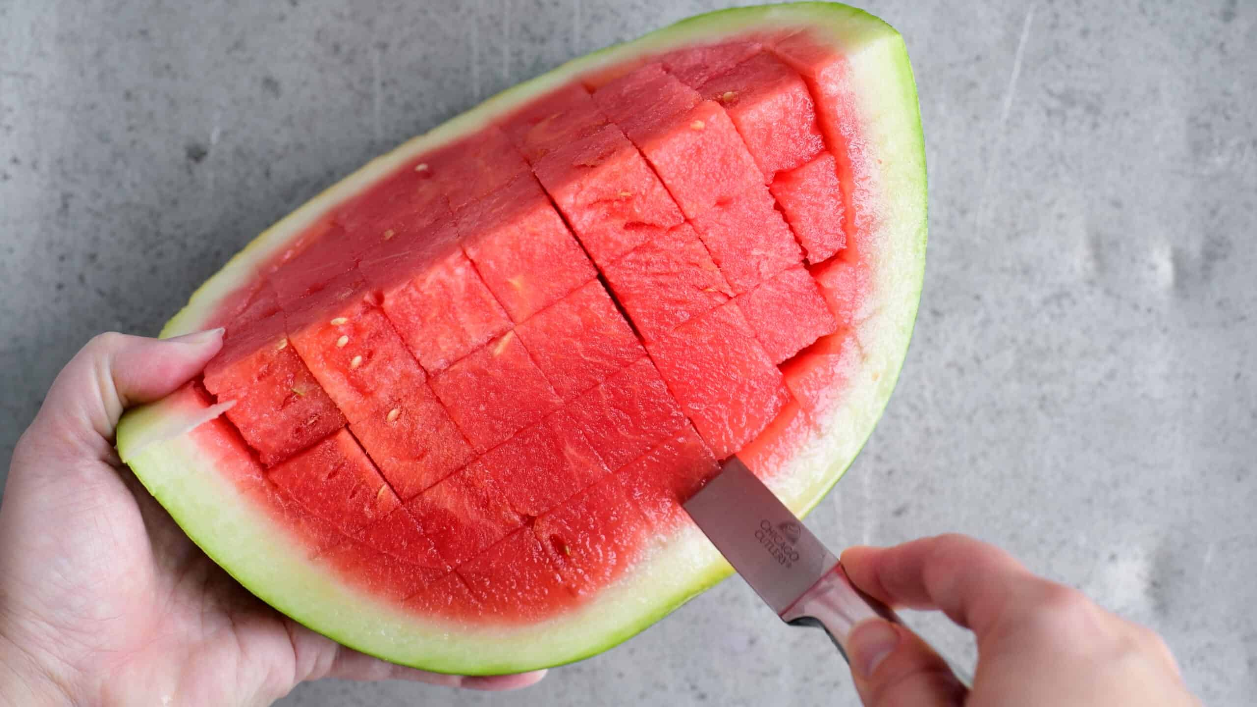 cutting cubes from a watermelon