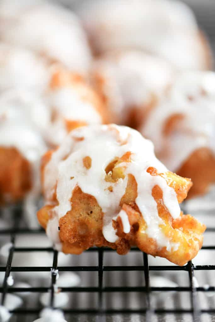 close up of apple fritter bite