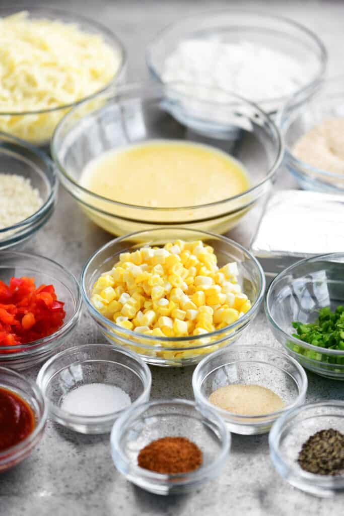 ingredients for corn poppers recipe in bowls