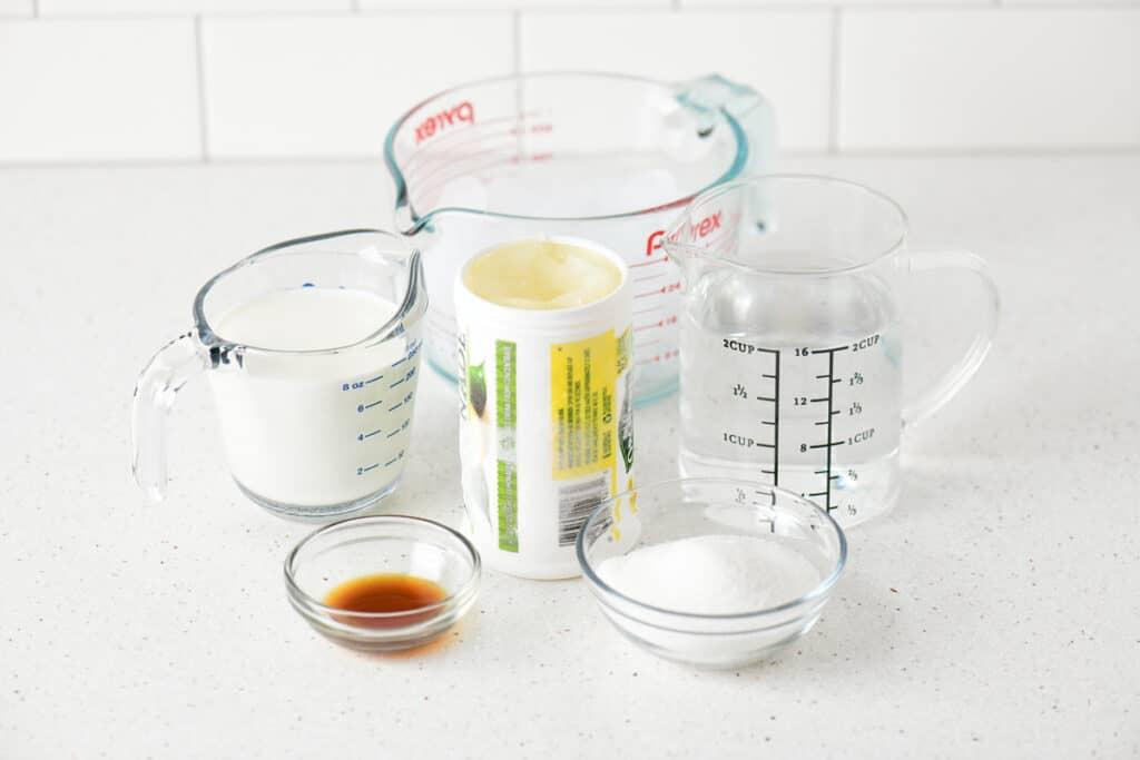 ingredients for making lemonade whip