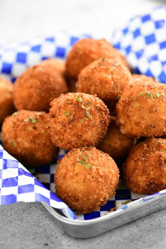 deep fried loaded potato poppers close up