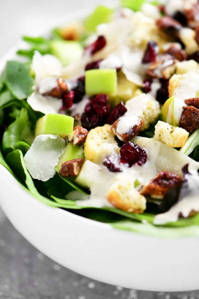 side view of apple cranberry salad in a white bowl