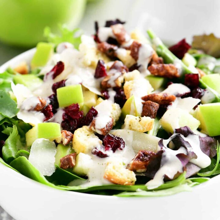 apple cranberry salad in a white bowl