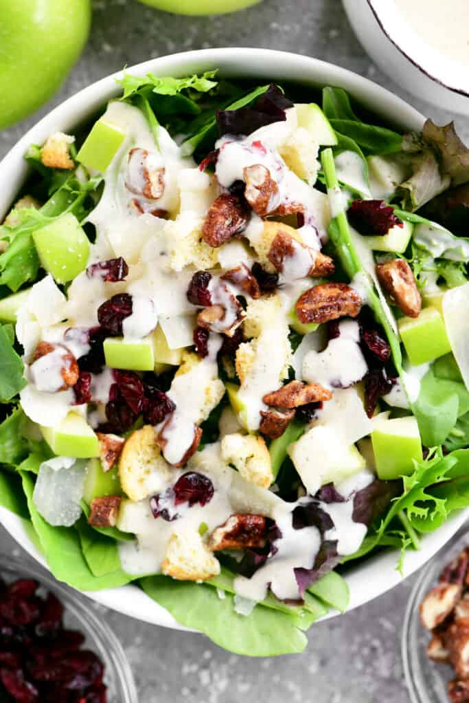 top down view of apple cranberry salad
