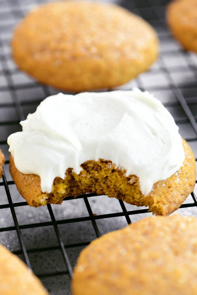 white frosting on a cookie