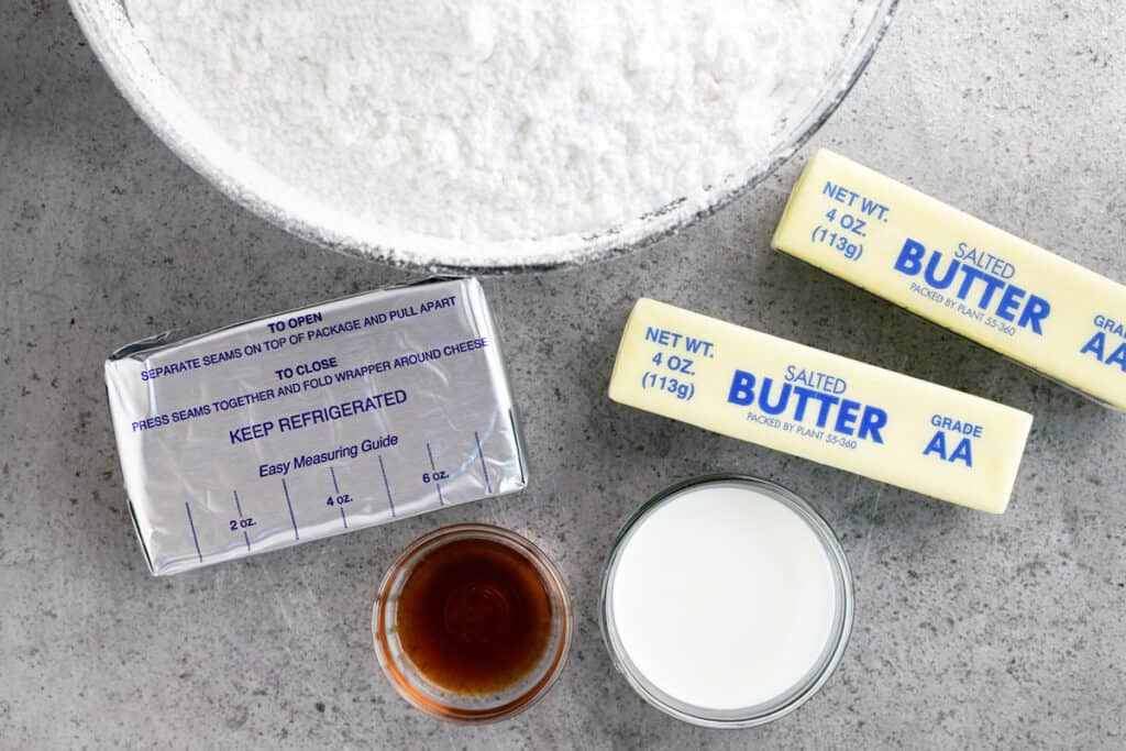 ingredients for cream cheese buttercream