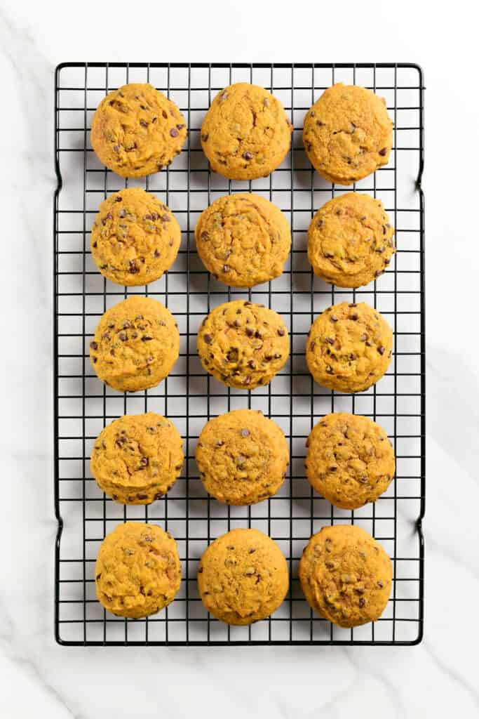 chocolate chip pumpkin cookies on a wire rack