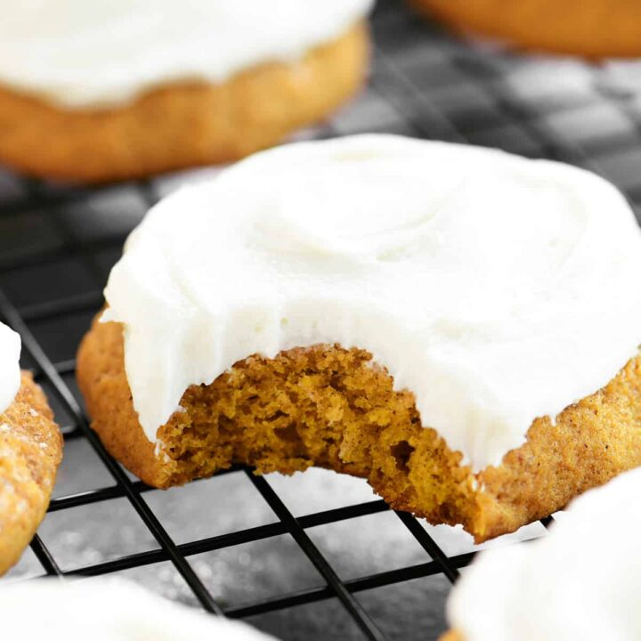 inside of a pumpkin cookie with cream cheese frosting