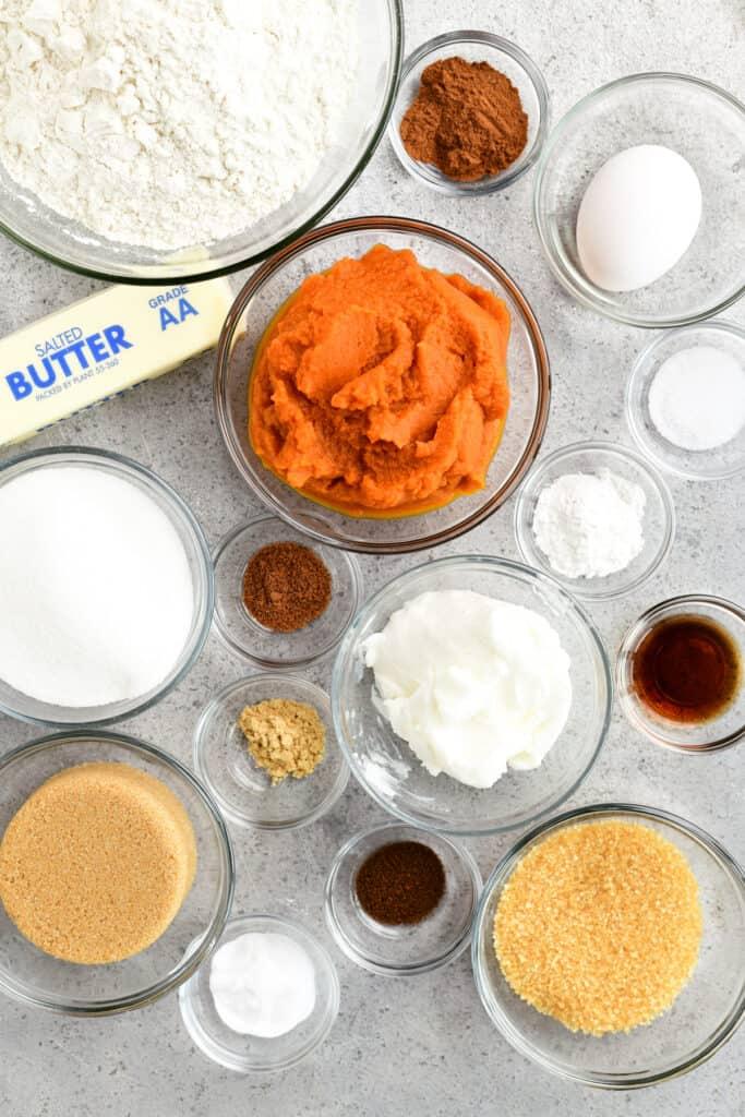 pumpkin cookies ingredients in bowls