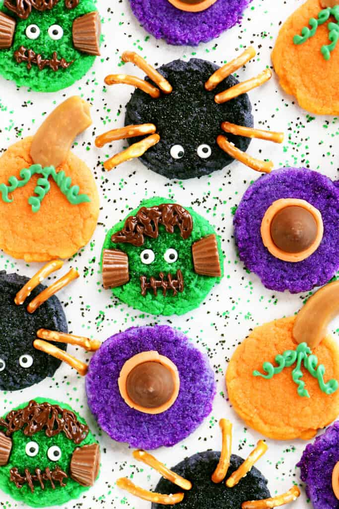 four kinds of decorated Halloween cookies