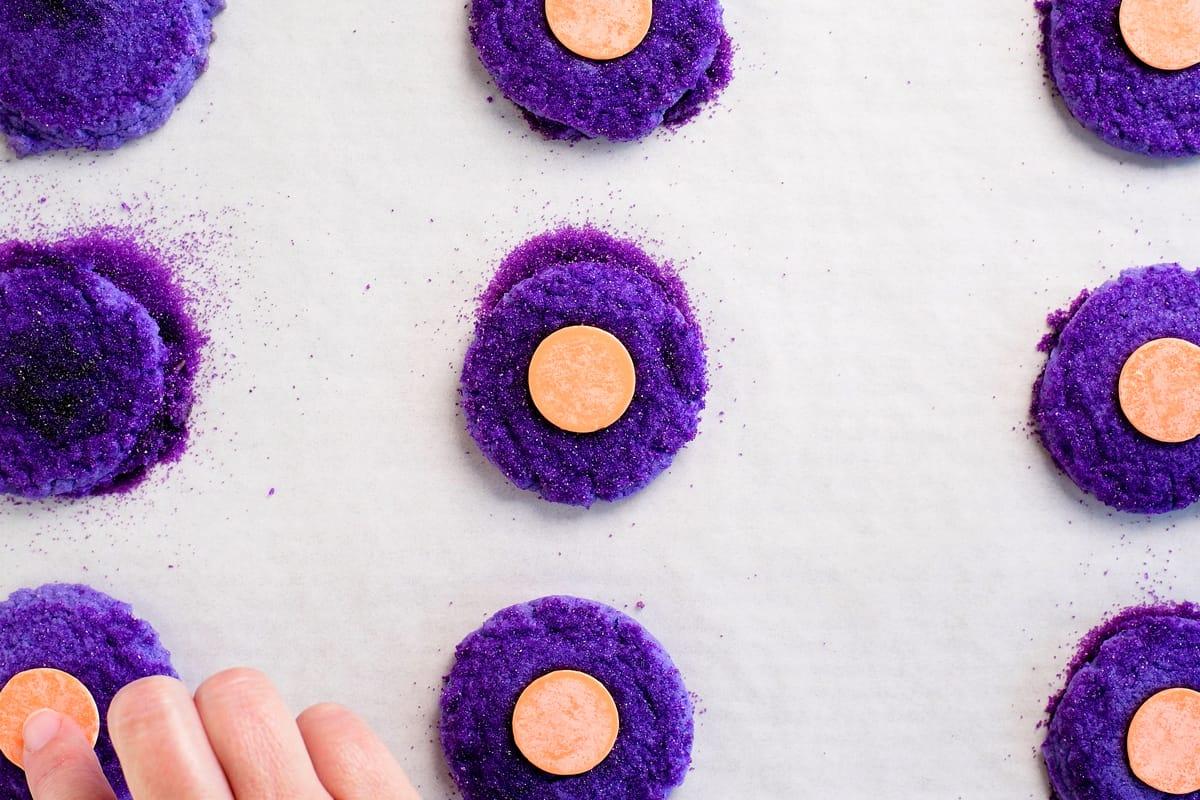 press an orange candy melt into the center