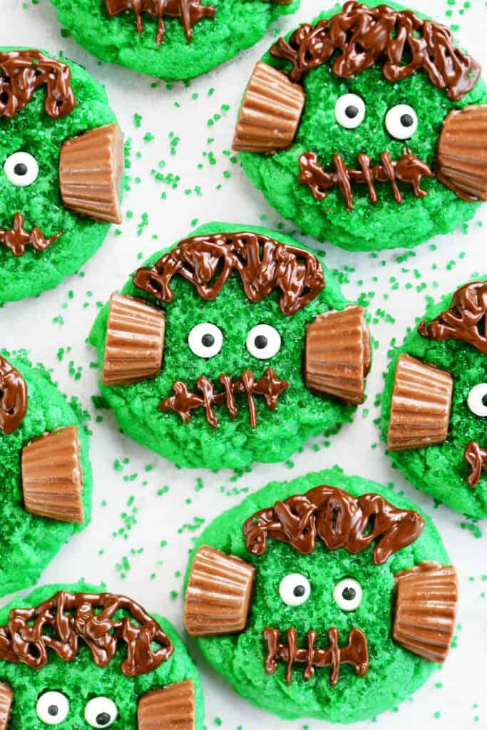 decorated frankenstein cookies