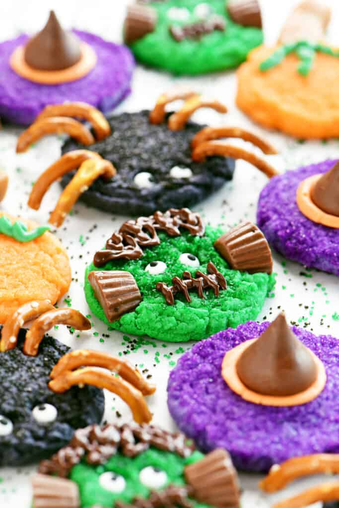 four kinds of halloween cookies from one dough
