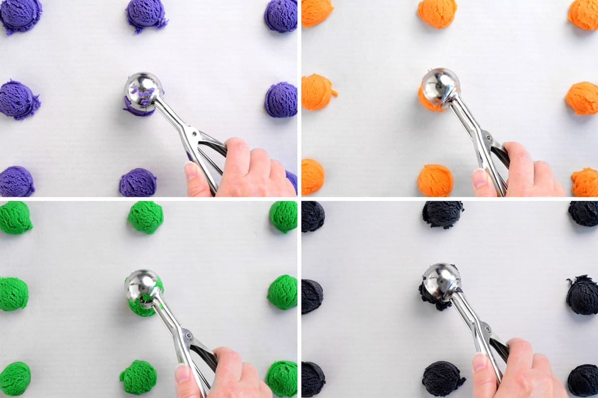 scooping balls of colored dough
