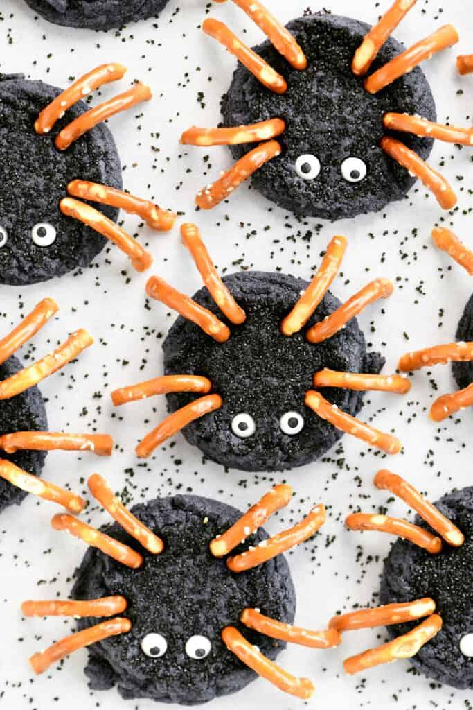 black spider sugar cookies with pretzel legs