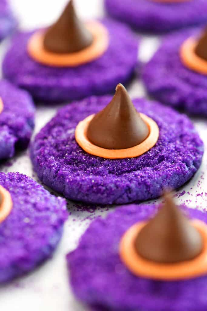 purple witches hats topped with Hershey's Kisses