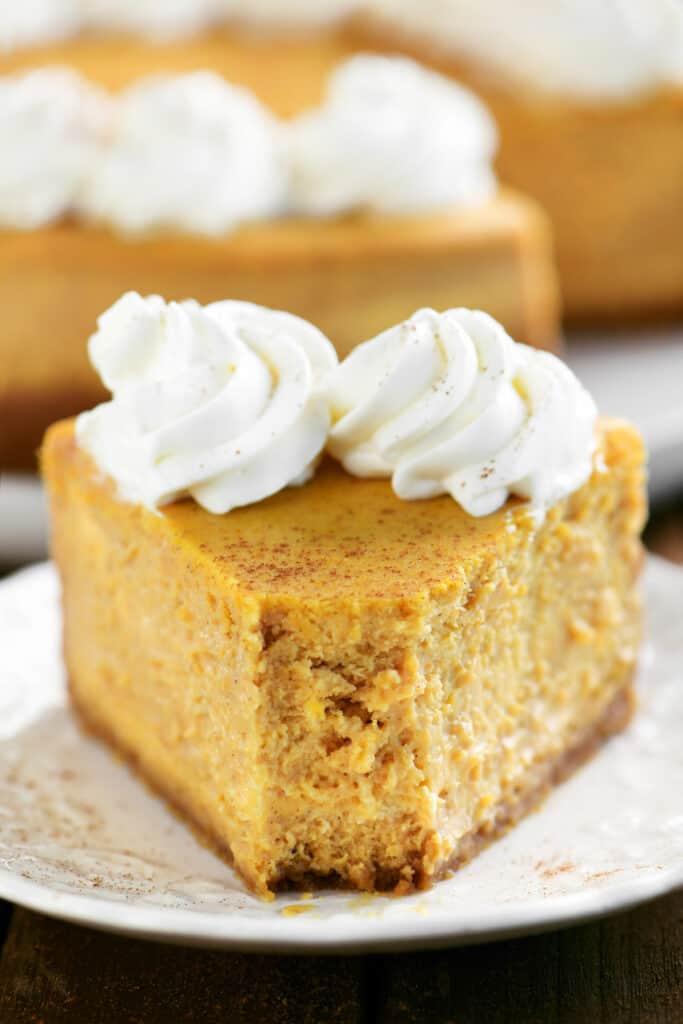 bite of creamy pumpkin cheesecake