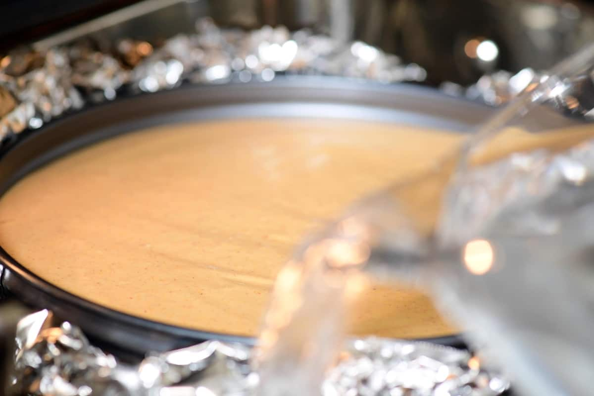 pour boiling water into roasting pan