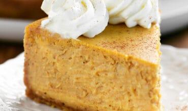 pumpkin cheesecake slice close up
