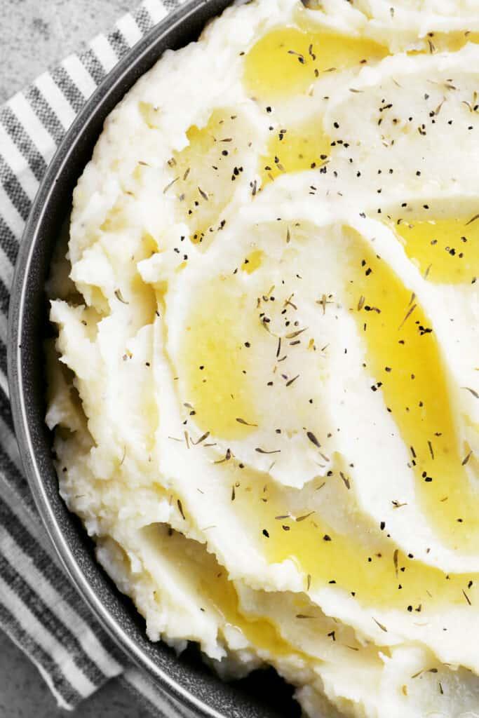 garlic mashed potatoes in a serving dish