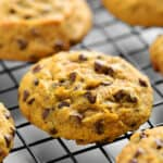 pumpkin chocolate chips cookies cooling on a wire rack