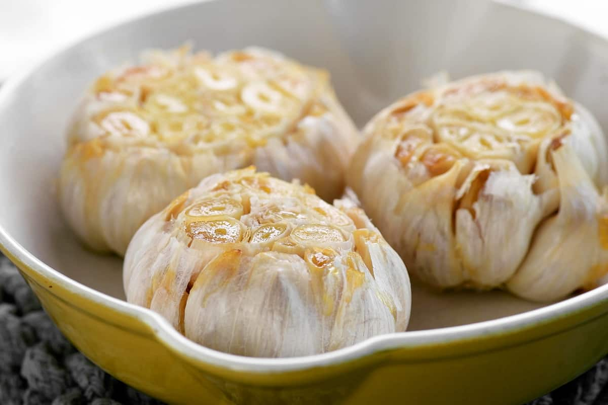 oven roasted garlic in a pan